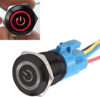 E Support™ Schwarz Shell Engel Auge Kippschalter Druckschalter Schalter Drucktaster Druckknopf 16mm 12V 3A Rot LED Licht Metall Steckdose