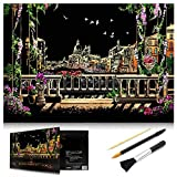 MUGIT Scratch Art Rainbow Painting Paper, Sketch Pad DIY Night View Scratchboard for Kids & Adults, Engraving Art & Craft Set, Scratch Painting Creative Gift, 16'' x 11.2'' with 3 Tools (Venice)