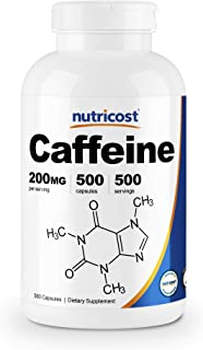 Nutricost Caffeine Pills, 200mg Per Serving (500 Caps)