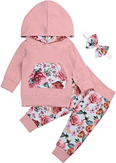 crazymee Baby Girl Floral Clothes Hoodie Tops and Wild Print Pants with Pocket Outfits Set