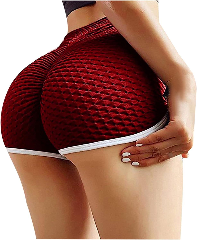 TIK Tok Leggings Shorts,High Waisted Yoga Shorts for Women Ruched Hot Pants Butt Lifting Running Tights