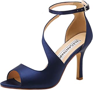 Women's Peep Toe High Heels Ankle Straps Buckles Satin Evening Party Prom Sandals
