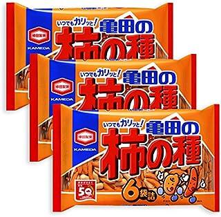 3 Packs Set of Kameda Kakinotane Rice Cracker with Peanuts 6 packs: total 200g (7.05oz) x 3 (Ninjapo Wrapping)