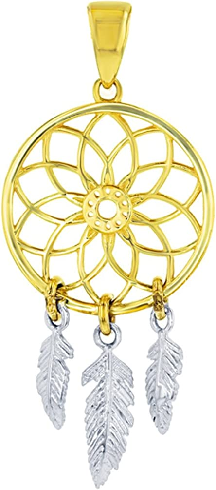 14k Two-Tone Gold Ranking TOP5 Native American Pendant Charm Dreamcatcher Factory outlet