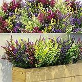 12 Manojos Arbustos Artificiales de Lavanda Flores Artificiales para Exterior Lavanda...