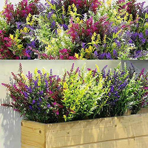 12 Manojos Arbustos Artificiales de Lavanda Flores Artificiales para Exterior Lavanda de Vegetación Artificial Plantas Resistentes a Rayos UV para Arreglo Floral (Color Mixto)