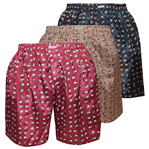 3er Mischen Herren Comfort Nachtwäsche Unterwäsche Elefanten Thai Silk Boxershorts (XL, Burgunderfarben Gold Marine-Gold)