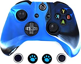 Taifond Anti-Slip Silicone Controller Cover Protective Skins for Microsoft Xbox One Controller with Four Thumb Grip Caps(Camouflage Blue)