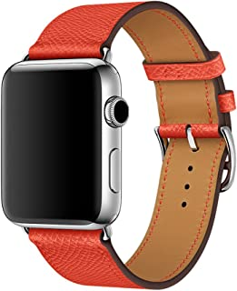 Genuine Leather Band Compatible for Apple Watch Series 3/2/1 38mm 42mm PTpower Replacement Straps Bracelet for iWatch Series 3/2/1 8 Fashionable Colors for Women/Men (Red-, 38mm)