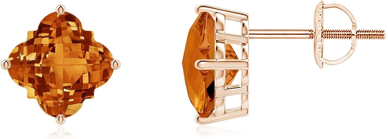 Charlotte Mall November Great interest Birthstone - Clover-Shaped Citrine Earrings Stud C 7mm