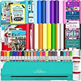 Silhouette Cameo 3 Teal Bluetooth Starter Bundle with 26-12' x 12' Oracal Vinyl Sheets, Transfer Paper, Guide, Class, Designs, 24 Sketch Pens