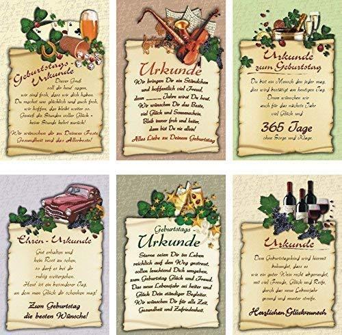 100 Glückwunschkarten zum Geburtstag Urkunden 51-1784 Geburtstagskarte Grußkarte