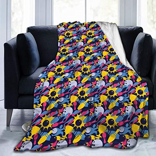 Manta mullida, de diferentes colores con elementos deportivos de Hobby en azul oscuro, tema de la victoria del campeonato, ultra suave, manta para dormitorio, cama, TV, manta para cama de 127 x 101 cm