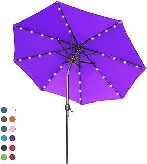 ABCCANOPY Patio Umbrella Ourdoor Solar Umbrella LED Umbrellas with 32LED Lights, Tilt and Crank Table Umbrellas for Garden, Deck, Backyard and Pool,12+Colors, (Purple)