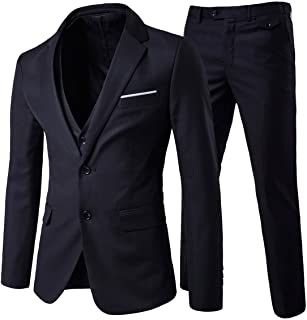 Cloudstyle Men`s 3-Piece 2 Buttons Slim Fit Solid Color Jacket Smart Wedding Formal Suit