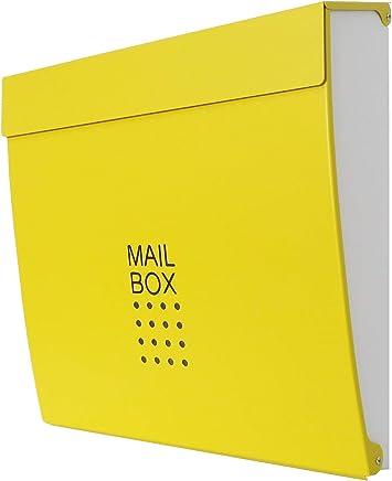 郵便ポスト郵便受け北欧風大型メールボックス 壁掛け鍵付きマグネット付きイエロー黄色ポスト新pm174