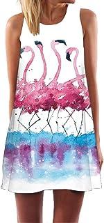 Ocean Plus Donna Fenicottero Copricostume Triangolo Abiti Senza Maniche Fogliame Casual Top Vestito Estivo Miniabito Vestito Spiaggia