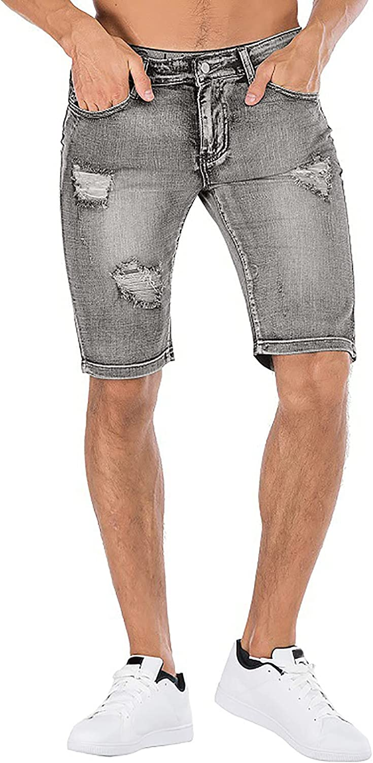 FUNEY Ripped Jeans for Men Casual Fashion Broken Distressed Retro Washed Slim Fit Stretch Denim Shorts with Holes,Jean Short