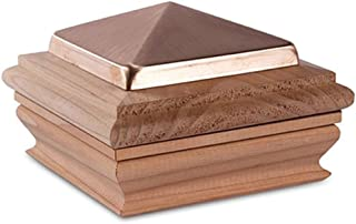 Woodway Copper Post Cap 4x4 – Small Copper Pyramid with Premium Redwood Base, Newel Post Top 4 x 4, Fits Up to 3.5 x 3.5 Inch Post, 1PC
