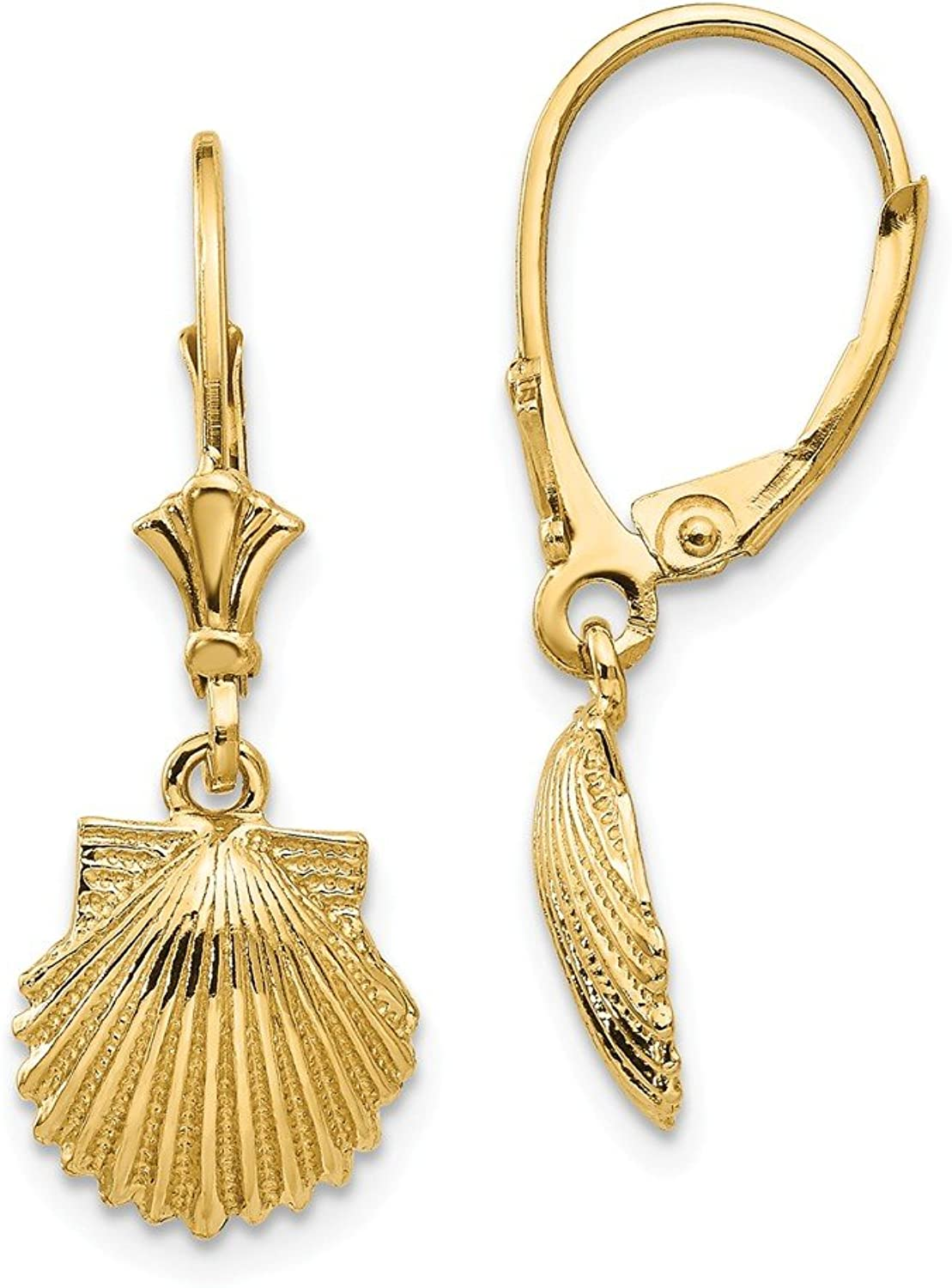 Beautiful Yellow gold 14K Yellowgold 14K Scallop Shell Leverback Earrings