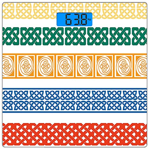 Digitale Präzisionswaage für das Körpergewicht Platz Ethnisch Ultra dünne ausgeglichenes Glas-Badezimmerwaage-genaue Gewichts-Maße,Verschiedene Farben Fliesen Griechische Kultur Folk Vintage Grid Abst