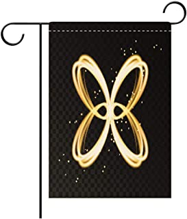 BEICICI Garden Flag Double Sided Decorative Flags Light Effect with Golden neon Abstract Butterfly Silhouette Best for Party Yard and Home Outdoor Decor
