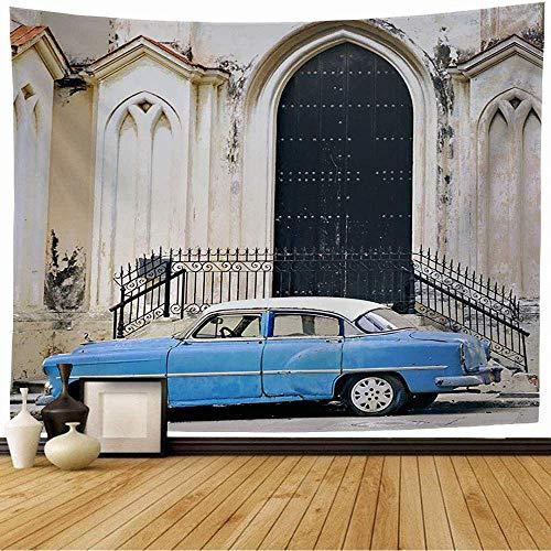 N\A Tapiz Colgante de Pared Vista Azul Clásico Rasgado Antiguo Urbano Tropical Coche Viejo Estacionado Transporte Texturas Grunge Valla Tapiz Vintage para Dormitorio Hogar Dormitorio