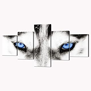 5 Panels Modern Husky Art Black and White Dog With Blue Eyes Picture Prints on Canvas Giclee Artwork Animal Face Prints and Posters Stretched by Wooden Frame for Home Decor - 50''W x 24''H