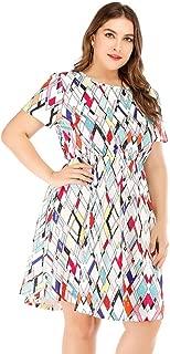 Women's Short Sleeve Dresses Milk Silk Casual Large Size Beach Dresses Simple (Color : White, Size : XXXXL)