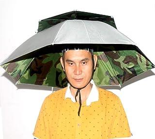 J/&X Double Deck Design Taschenschirm Hut 32  Durchmesser einstellbar Headwear H/ände frei f/ür Angeln Gartenarbeit Fotografie Walking