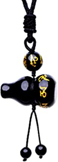 Betterdecor Feng Shui Obsidian Wu Lou/Hu Lu Gourd wtih Tibetan Mantra Necklace Amulet (with a Pouch)