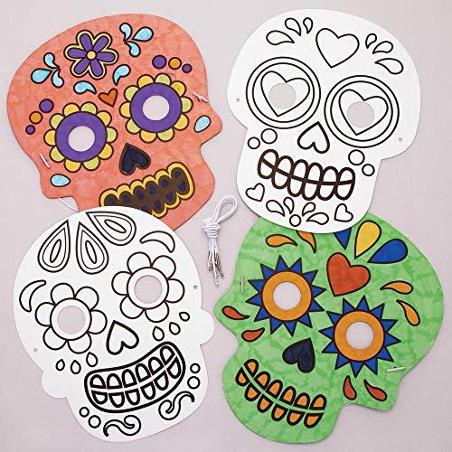 Baker Ross Schädel Masken Tag der Toten zum Malen (8 Stück) Halloween Bastelset