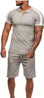 Men Summer Leisure Stripe Patchwork Short Sleeve Polo T-Shirt with Short Pants