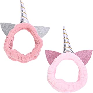 Chris.W 2 Pack Unicorn Headband Glitter Cat Ear Makeup Hairband for Washing Face, Spa or Head Wraps, Cute Women Girl Headbands(Light Pink/Pink)