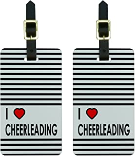 I Love Heart Cheerleading Luggage Tags Suitcase Carry-On ID Set of 2