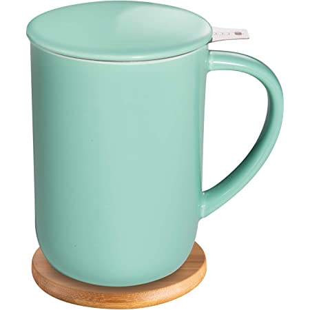CEEFU Porcelain Tea Mug with Infuser and Lid, Teaware with Filter and Coaster, Loose Leaf Tea Cup Steeper Maker, 16 OZ for Tea/Coffee/Milk/Women/Office/Home/Gift (Mint Green)