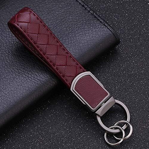 Llavero con cuero tejido cuerda llavero de la Mujer hombres clave Ultra sostenedor del anillo de la llave del coche clásico suave Accesorios regalo ( Color : Dark brownish red , Size : Gratis