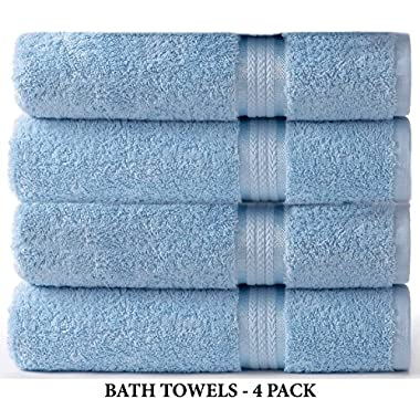 Cotton Craft 4 Pack - Ultra Soft Oversized Extra Large Bath Towels 30x54 Light Blue - 100% Pure Ringspun Cotton - Luxurious Rayon trim - Ideal for Daily Use - Each Towel Weighs 22 Ounces