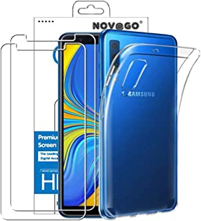 Novago Compatible with Samsung Galaxy A7 2018 A750 (3 in 1) Transparent Shockproof Soft Case + 2 Tempered Glass Screen Pro...