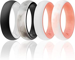 ROQ Silicone Wedding Ring for Women - Affordable 4 Pack of Silicone Rubber Rings - Dome Style, 2 Colors - Glitter, Marble, Metallic, Matte - Safe, Flexible, Light with Classic Design