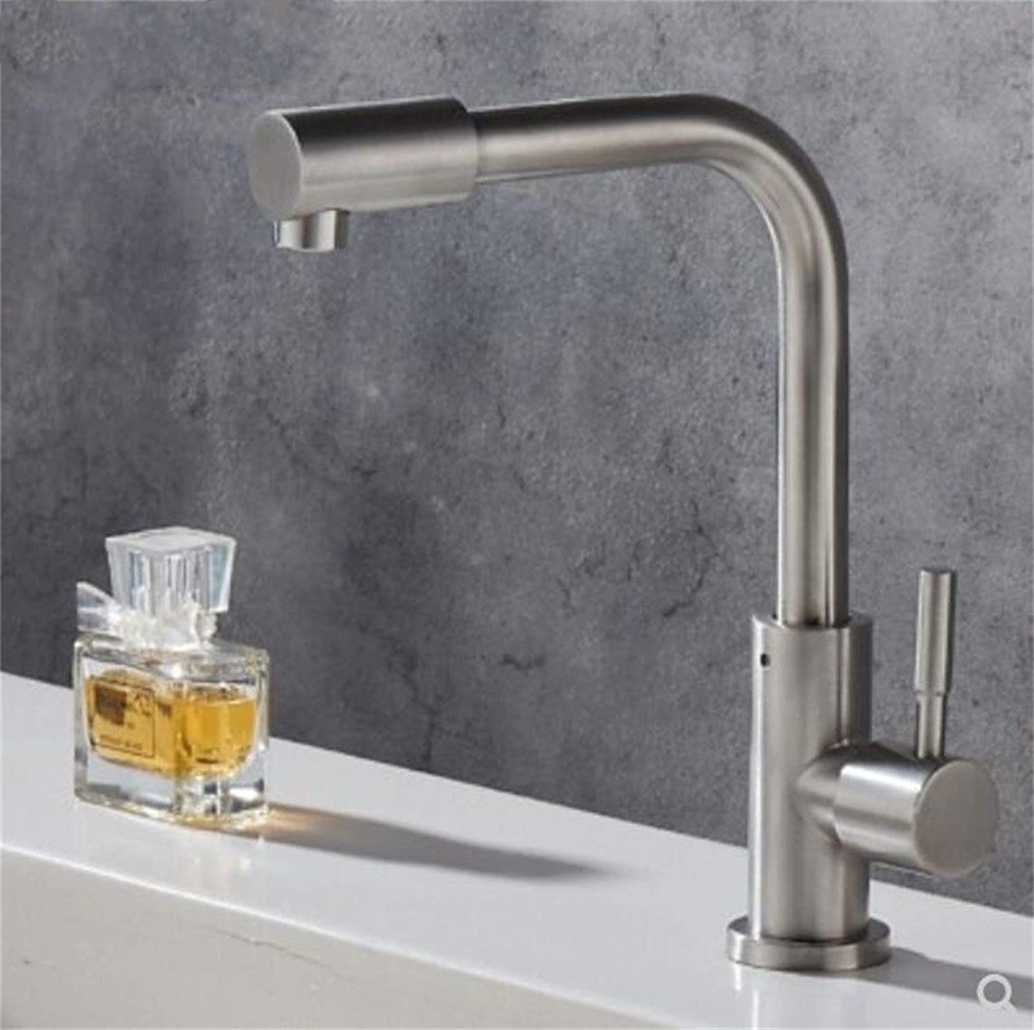 Decorry Washbasin Cold Basin Faucet 304 Stainless Steel Bathroom Sink Basin Faucet Chrome Ceramic Valve Core