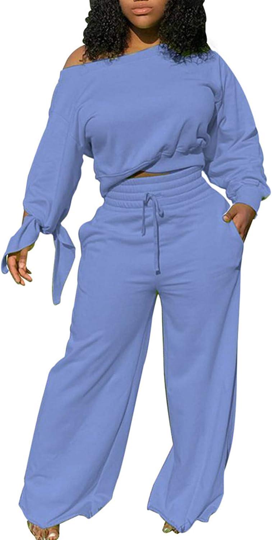 Fixmatti Women's Casual 2 Piece Sweatsuit Sets Off Shoulder Crop Top Wide Leg Pant Tracksuit Outfits