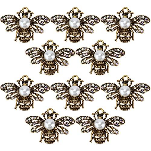 10 Uds, Broches De Abeja Para Mujer, Formas De Animales, Broches De Cristal Para Abejas, Insignias, Broches De Perlas Con Diamantes De Imitación, Broches De Abeja(#2)
