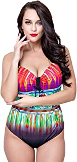 DSLSM 女性のための水着ローカットバックレスプリントパターン装飾ハイスクールウエストワンピース媚薬ビキニ (色 : 赤, サイズ : 54)