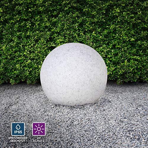 Kugelleuchte aussen, Gartenlampe Ø30cm, Stein-Optik | Außenleuchte spritzwassergeschützt | Gartenleuchte, E27-Fassung | Kugellampe mit Erdspieß