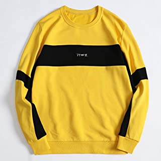Men's pullover sweater round neck fleece loose stitching contrast color casual jacket loose sweatshirt cotton sweater