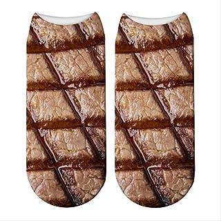 5 Pares 3D Impreso Carne Calcetines Mujeres Carne Tobillo Calcetines Filetes Patrones Personalidad Creativa Cómodo Calcetín