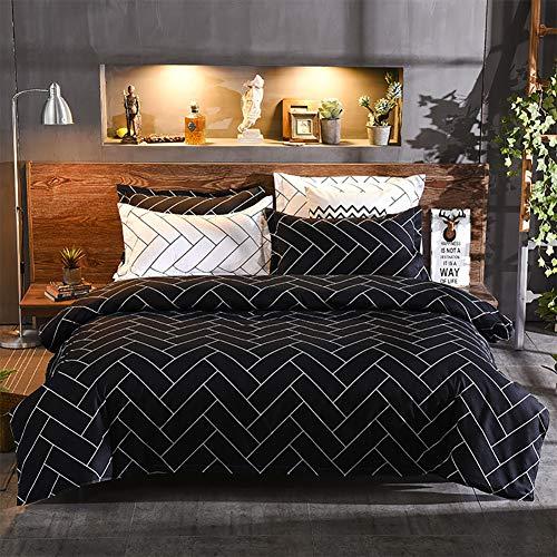 Generies Bedding Set,Bedding Duvet Cover 4 Piece Set Black Striped Quilt Cover Cotton Solid Color Thick Warm Fabric Pure White