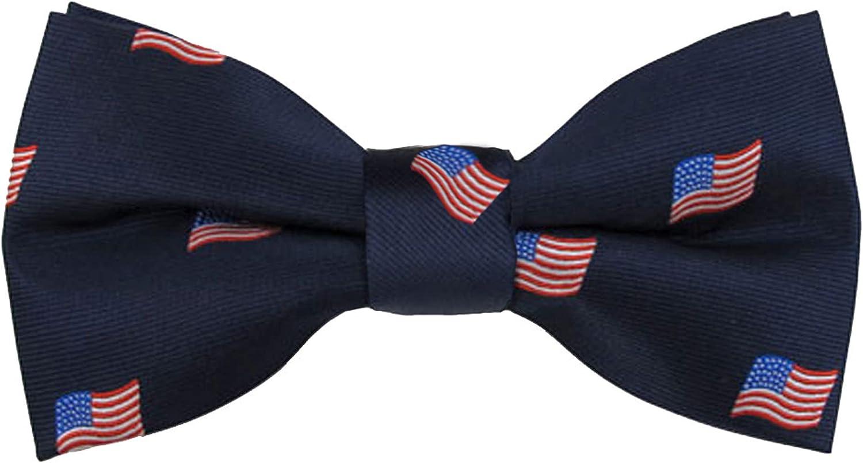 Jacob Alexander Men's Woven American Same day shipping Flags Navy Rare USA Tie Pre- Bow