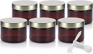 Amber PET Plastic (BPA Free) Refillable Low Profile Jar with Gold Metal Lid - 3 oz (6 Pack) + Spatulas